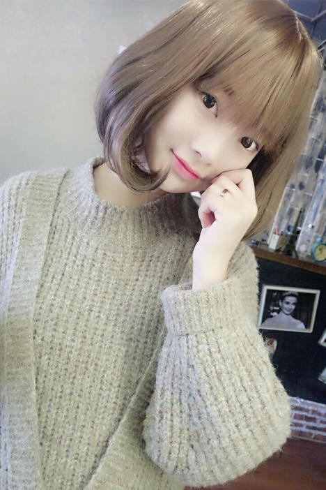 【韩国网红女假发女短发空气齐刘海微卷内扣波波头短图片