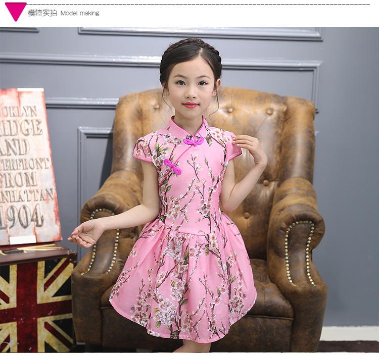 夏季儿童旗袍 女童唐装公主裙 民族风小孩女孩大童夏装连衣裙