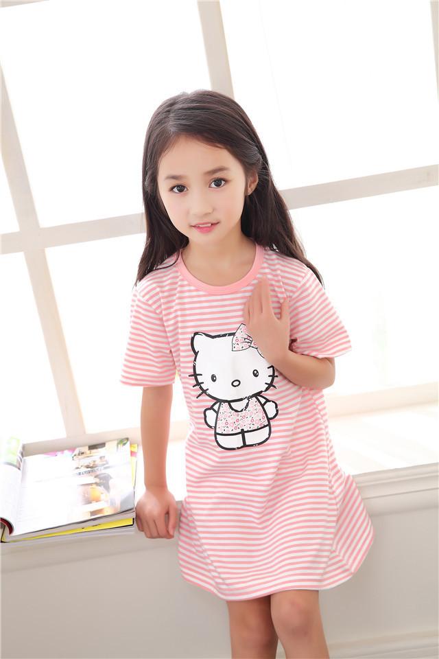 2016新款夏季新款可爱小女孩睡裙韩版卡通小清新儿童睡衣
