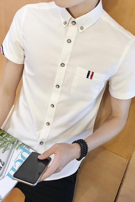 夏季男生短袖衬衫潮流男士韩版修身纯色亚麻衬衣青少年男装衣服