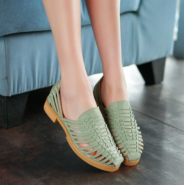 【阿木木】英伦风编织复古低跟凉鞋学院风其他猪笼鞋