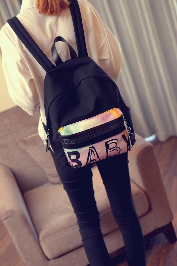 【网络红人雪梨baby权志龙同款休闲帆布韩版涂鸦双肩