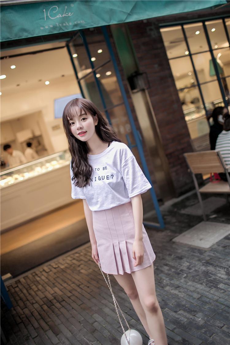 抢免单英文时尚甜美可爱白t恤 百褶粉色清新半身裙