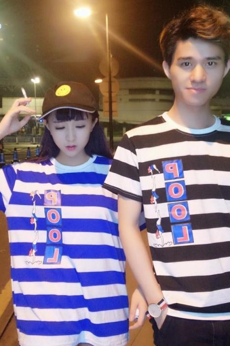 【原宿bf风pool字母跳水人物条纹短袖t恤】-衣服