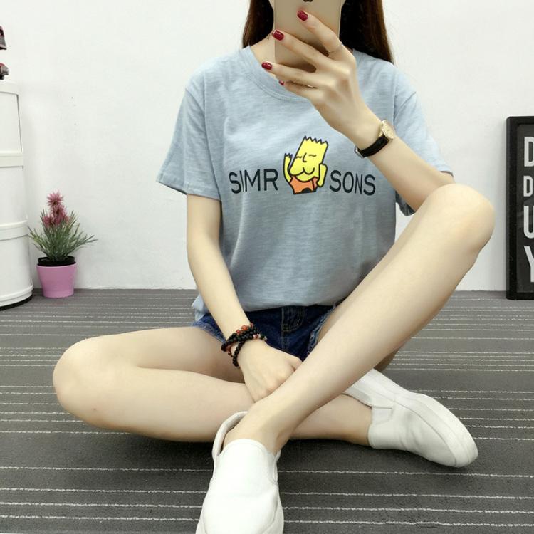 【时尚女装】学院风辛普森头像印花短袖t 牛仔短裤时尚套装