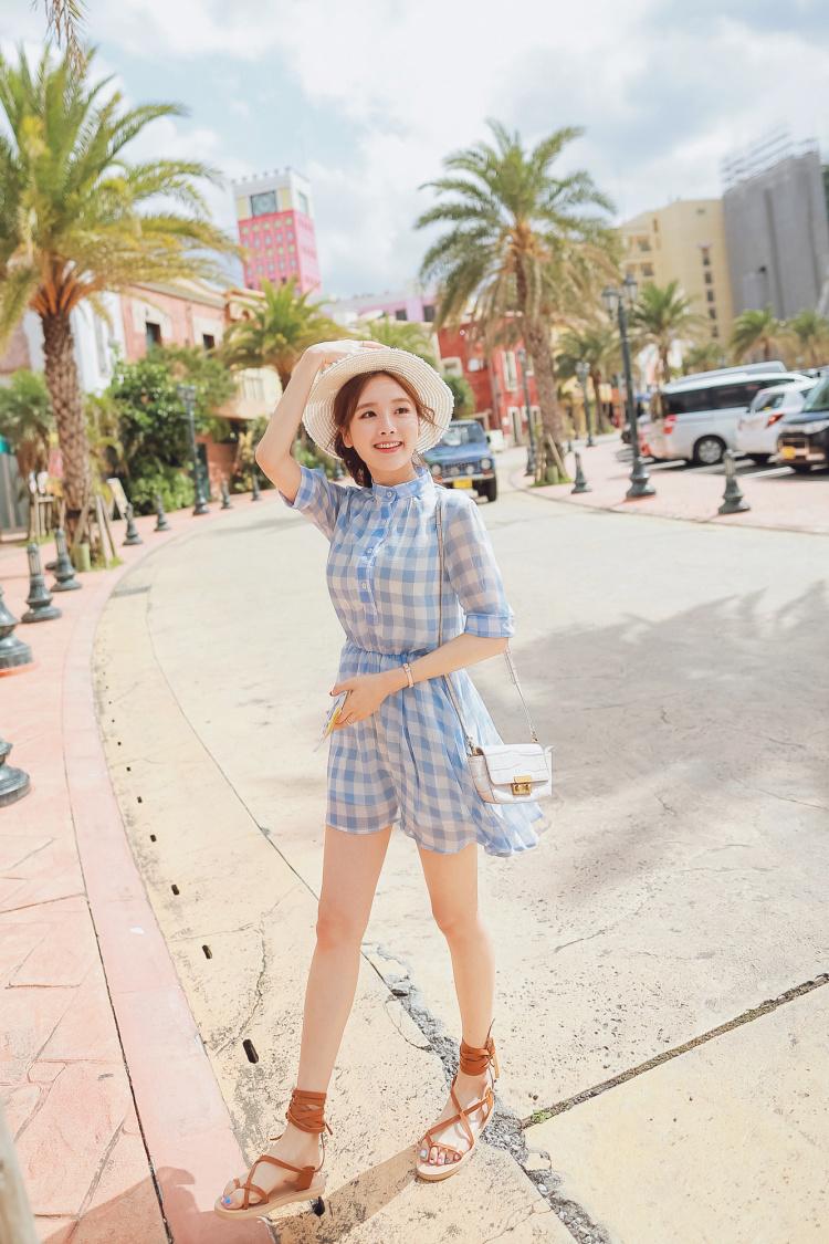 轩诗格慕韩版学院风复古文艺格子小清新收腰显瘦连衣裙