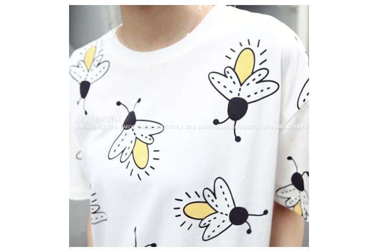 韩版可爱萤火虫图案印花tee 夏季百搭新款女装短袖打底衫t恤