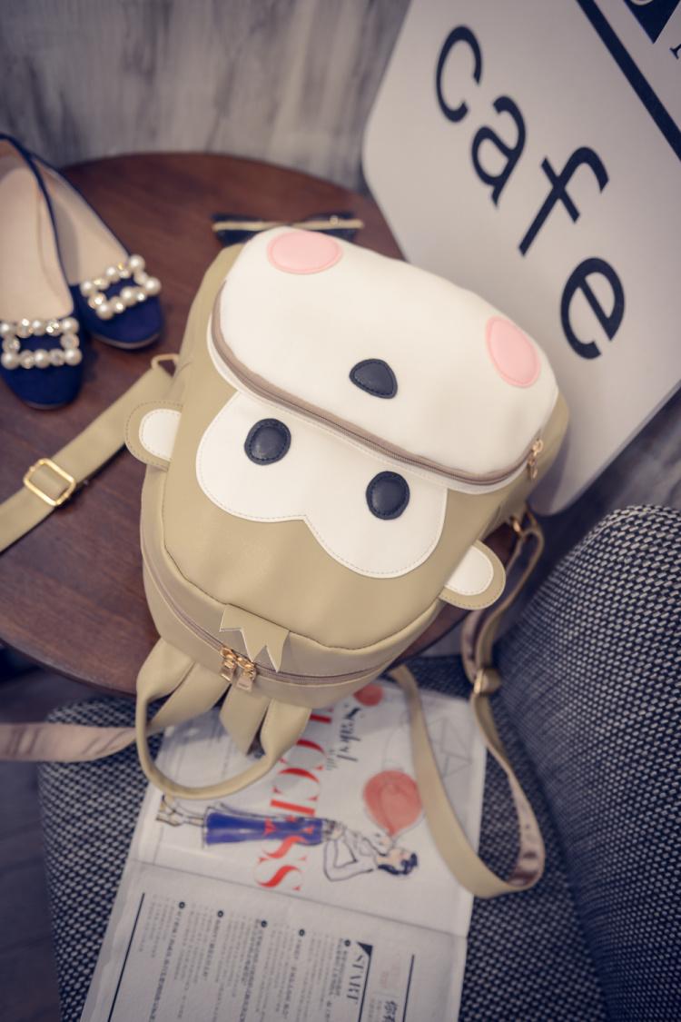 【新款韩版简约可爱少女风小猴子双肩背包】-包包-包