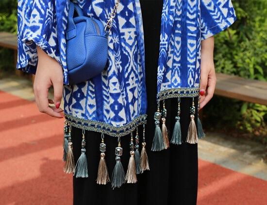民族风蓝色扎染流苏雪纺和服开衫外套