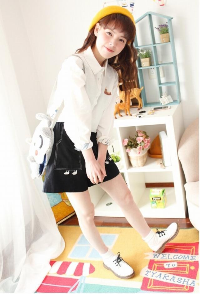 韩国小清新手绘童趣刺绣小猫小房子拼色翻领宽松长袖白衬衫春