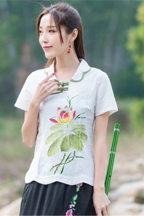 2016春夏中国风古风手绘印花短袖棉麻汉服改良盘扣旗袍上衣女