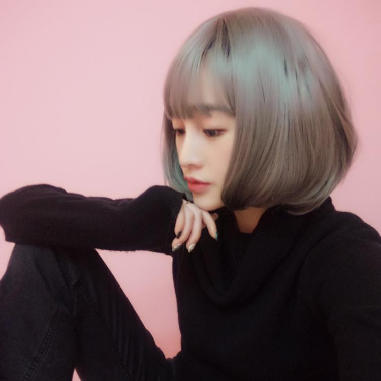 【假发女短发实拍奶奶烟灰色空气薄刘海微卷内扣波图片