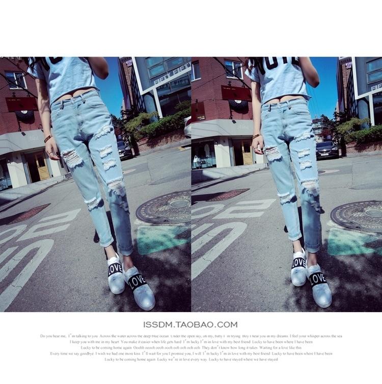 【抓痕韩版做旧破洞浅色牛仔裤】-衣服-裤子
