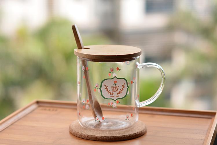 创意印花玻璃杯 原创杯子 水杯 马克杯 花茶杯