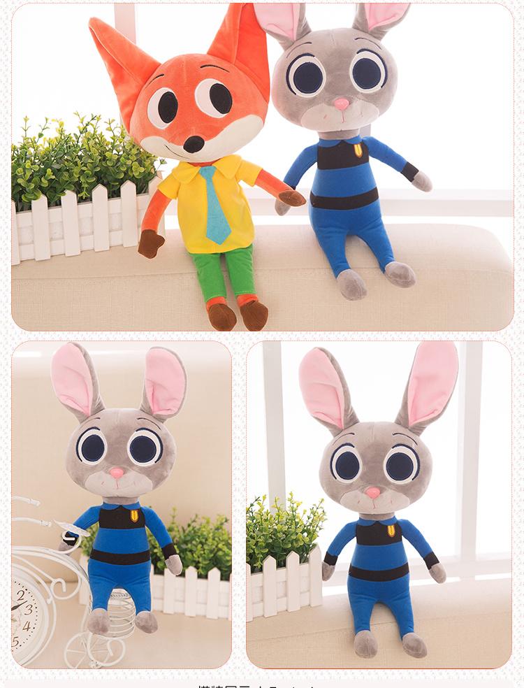 【迪士尼电影疯狂动物城周边公仔尼克狐狸兔子朱迪兔
