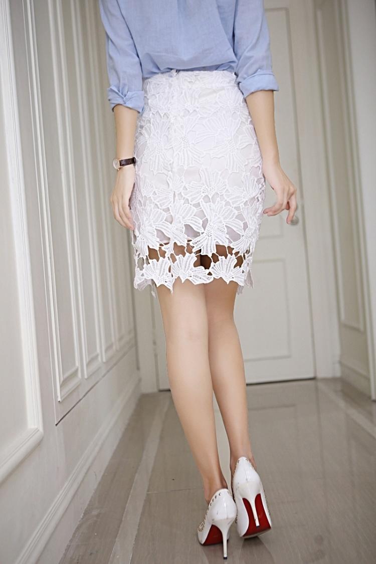 百搭镂空蕾丝包臀裙半身裙半裙裙子夏季白色短裙一步裙女春夏包裙