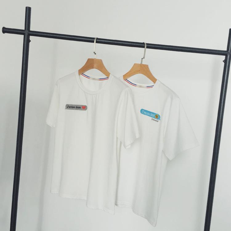 fans 夏装新品 日系港风胸前对话框趣味印花情侣t恤