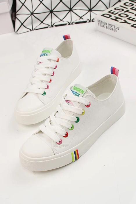 小清新时尚韩版经典学院风彩色鞋带孔帆布小白鞋