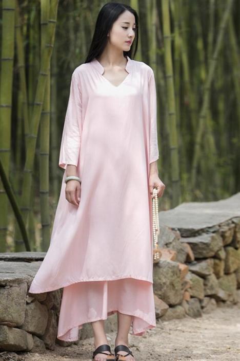 016夏季棉麻女装原创新品复古中国风七分袖女式袍子长裙连衣裙