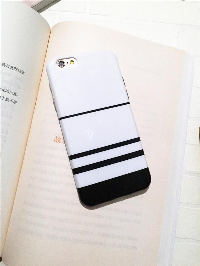 【简约黑白条纹iphone6s手机壳苹果6plus全包硅胶软