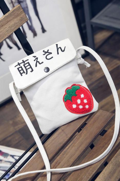 文艺学生帆布包可爱小清新水果手机包斜挎小包女包潮软妹萌趣包