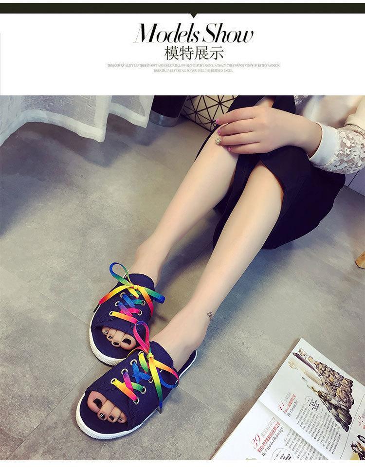 【送鞋带】2016夏季新款韩版一字拖一字型平跟平底凉拖鞋
