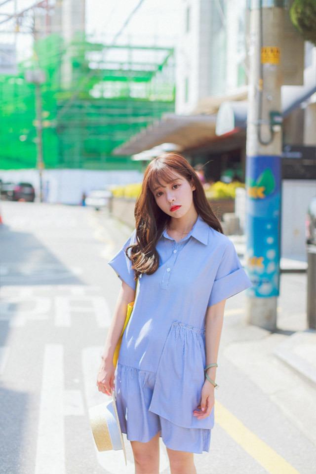 夏季清新蓝细条纹连衣裙】-衣服-裙子