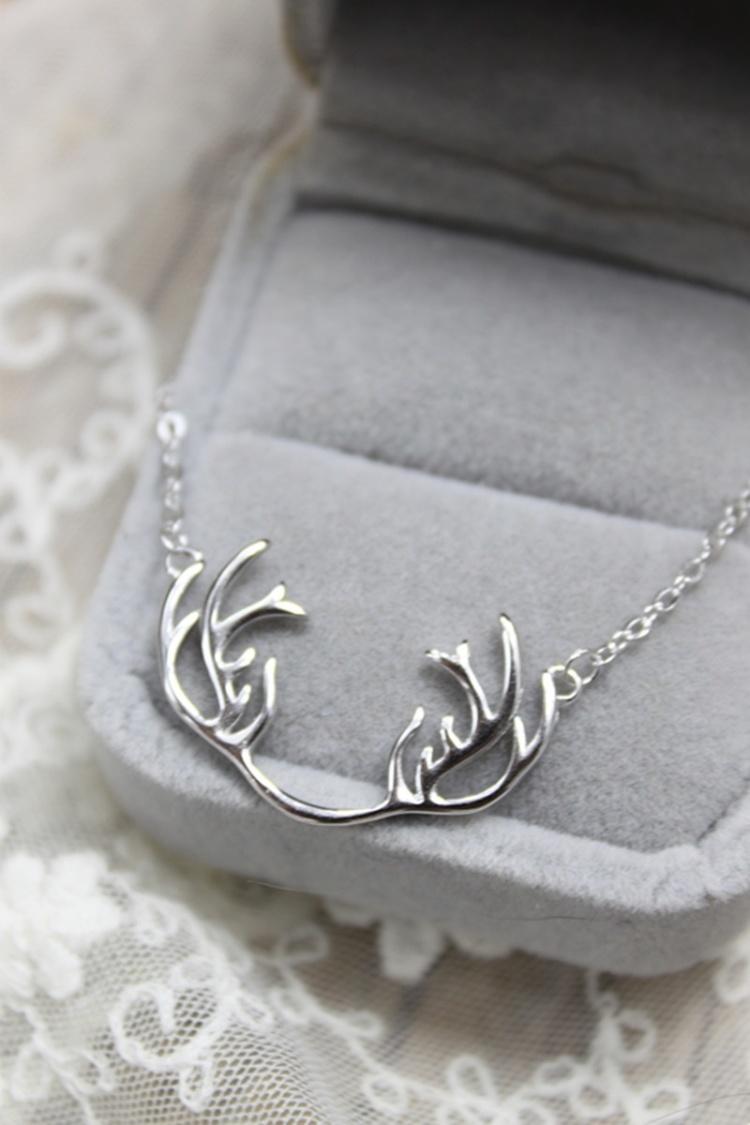 树深时见鹿森物语麋鹿925银大鹿角项链纯银锁骨链
