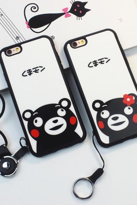 苹果6splus手机壳挂绳萌可爱熊本熊5s硅胶iphone6