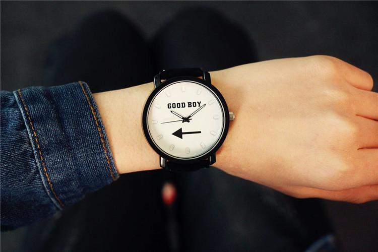 韩版大表盘原宿复古个性简约女潮流时尚皮带潮男中学生情侣手表图片