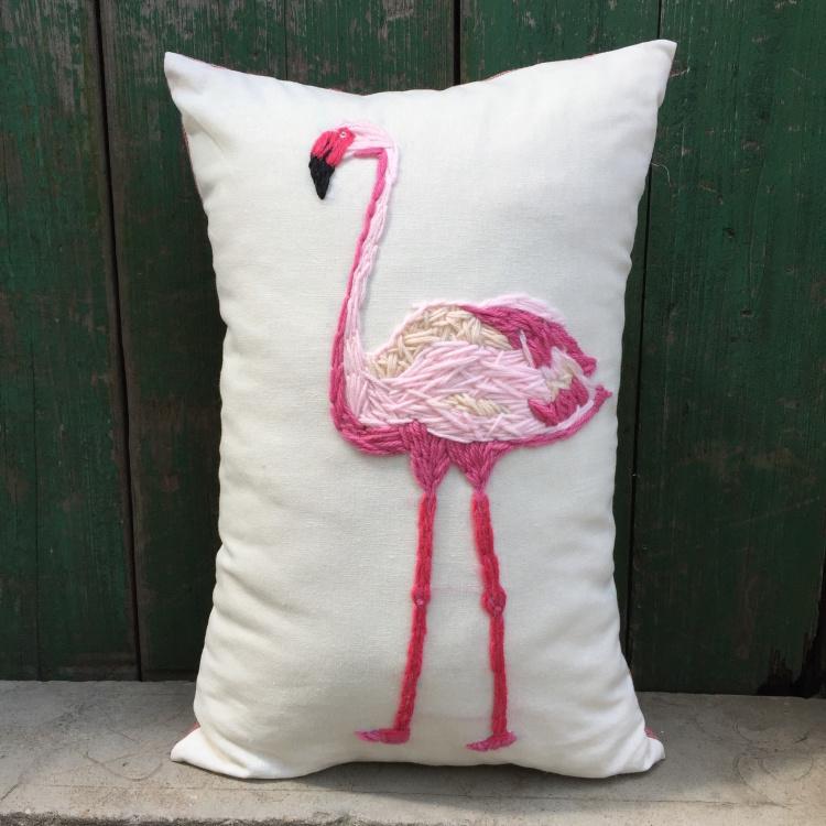 纯手工原创羊毛刺绣粉色火烈鸟flamingo抱枕 含芯可定制