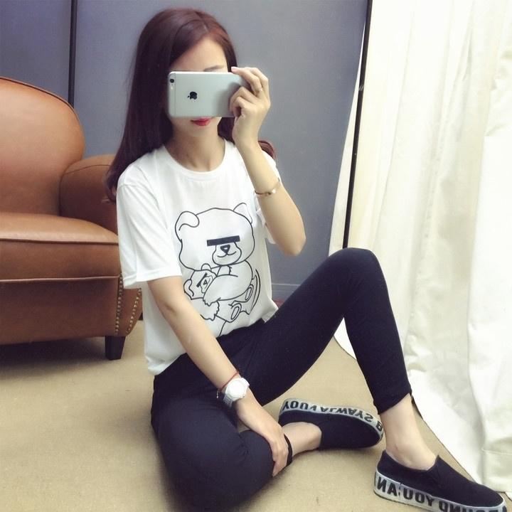 2016春夏新款港风合作款黑白遮眼熊短袖t恤女学生上衣潮