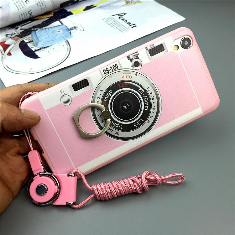 【创意照相机oppo r9手机壳指环支架r9plus挂绳硅胶