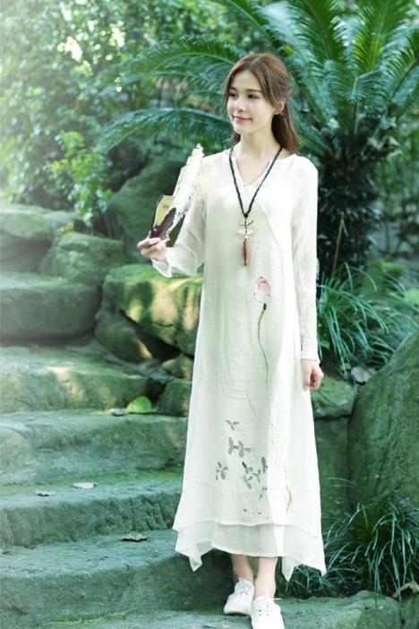 中国风2015新款清雅复古手绘印花仙女范古风修身连衣裙