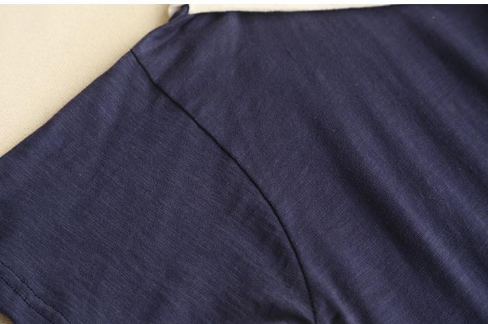 百搭推荐森女系可爱猫咪小鱼刺绣领带短袖t恤