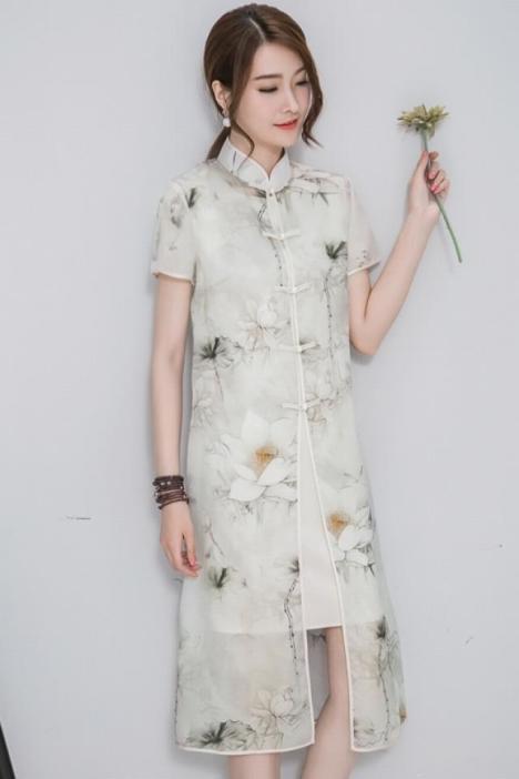 新款夏中国风女装印花立领修身旗袍扣两件套连衣裙盘扣对襟中长裙