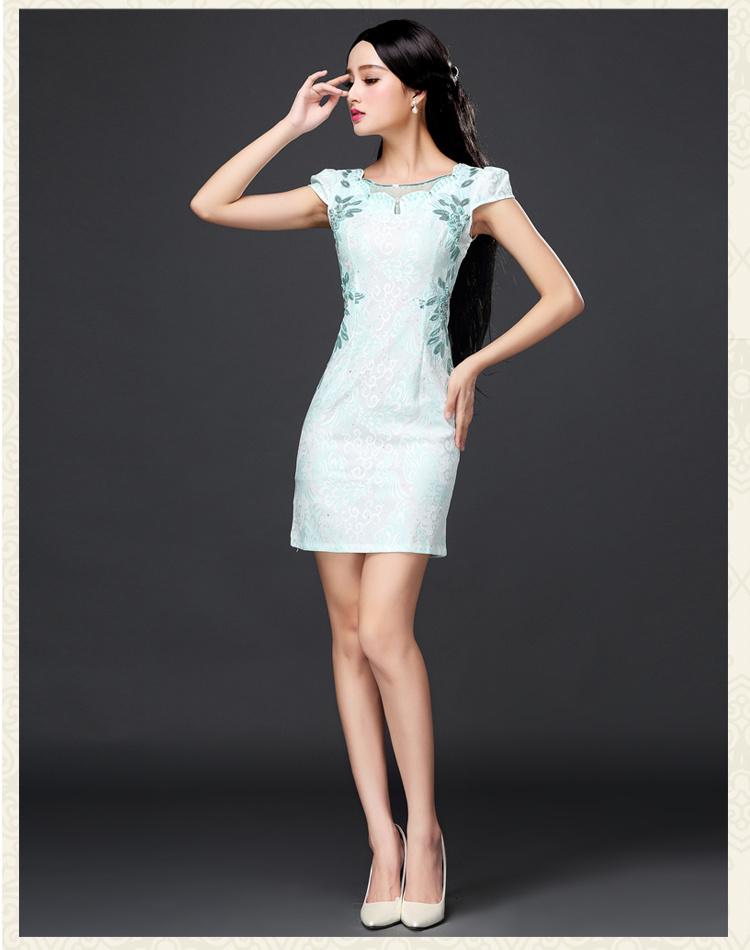 改良短款绣花旗袍蕾丝连衣裙