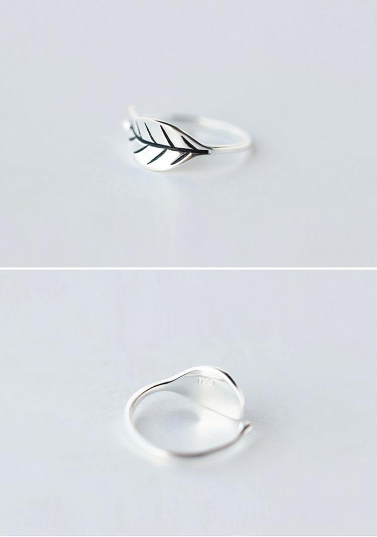 s925纯银复古泰银树叶开口戒指