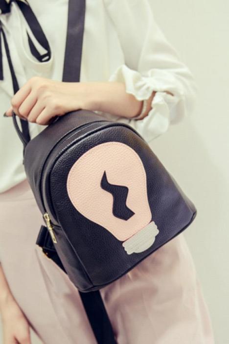 迷你双肩包女韩版潮小背包超小可爱电灯泡拼接撞色个性mini春新款