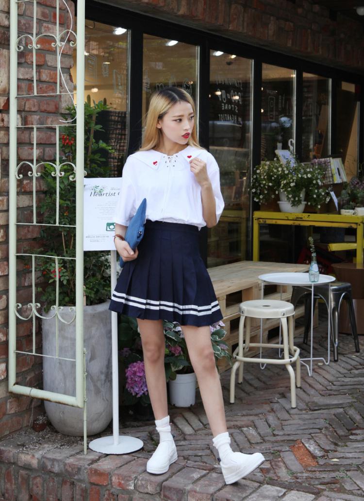 韩国学院风甜美小清新红色桃心刺绣绑带翻领纯棉白色短袖衬衫女