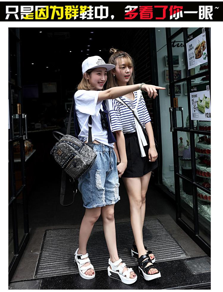 韩国街头潮鞋小清新魔术贴厚底休闲凉鞋