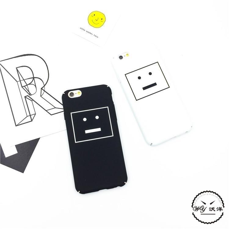 【黑白简约格子笑脸iphone6plus苹果手机壳