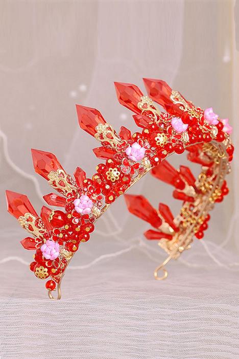 【新娘饰品水晶头饰欧式复古巴洛克皇冠红色婚纱礼服