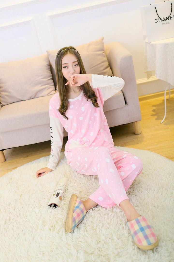 甜美可爱kity猫棉质少女睡衣套装