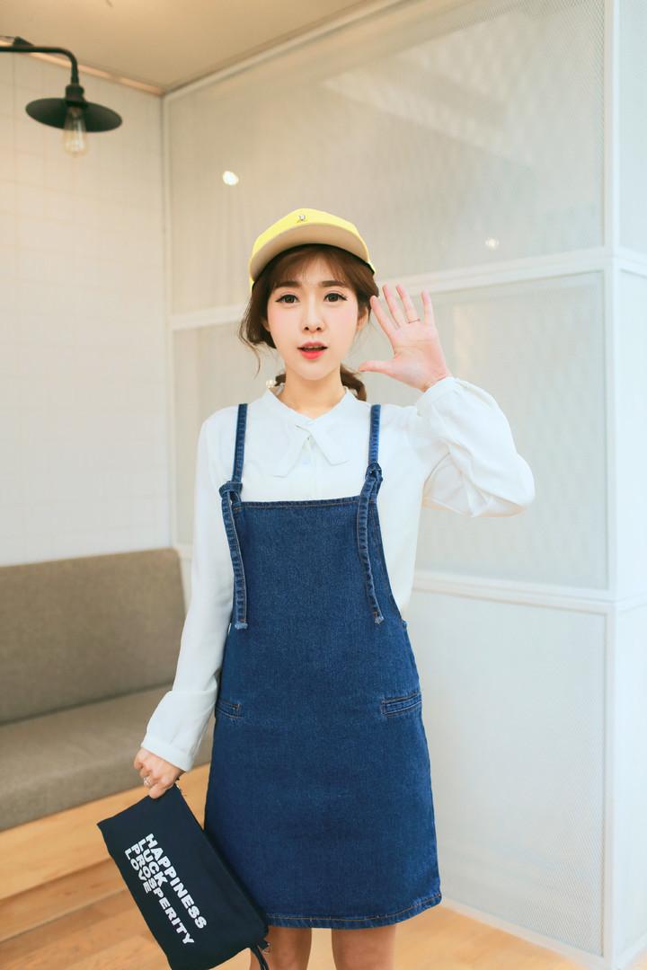 韩版春季牛仔背带裙