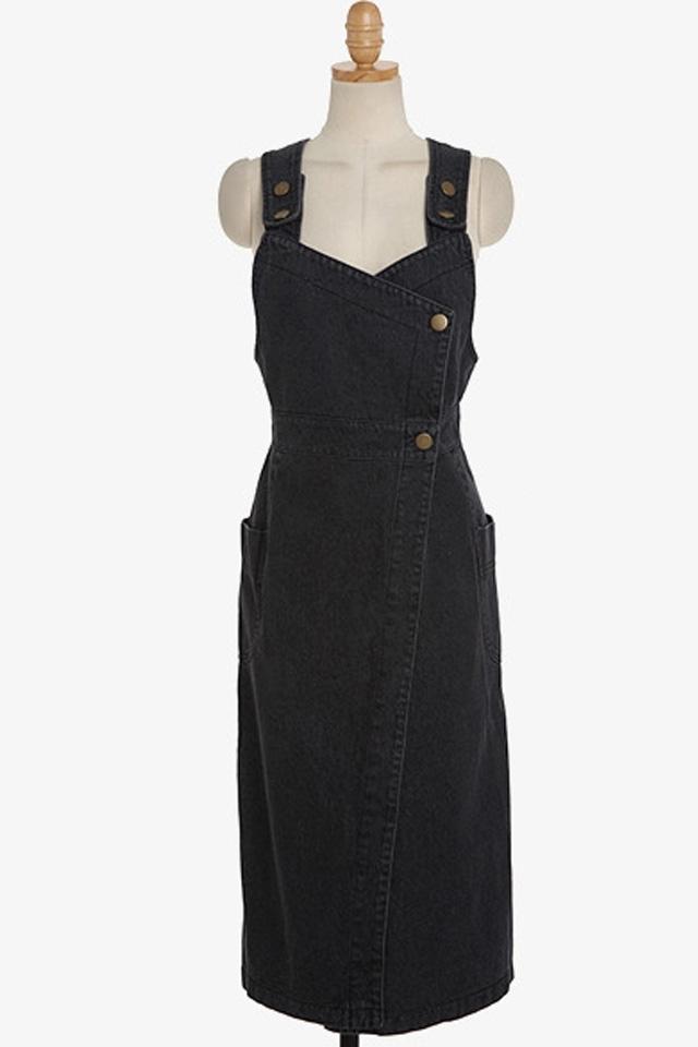 【复古烟灰色纽扣牛仔背带裙】-衣服-连衣裙
