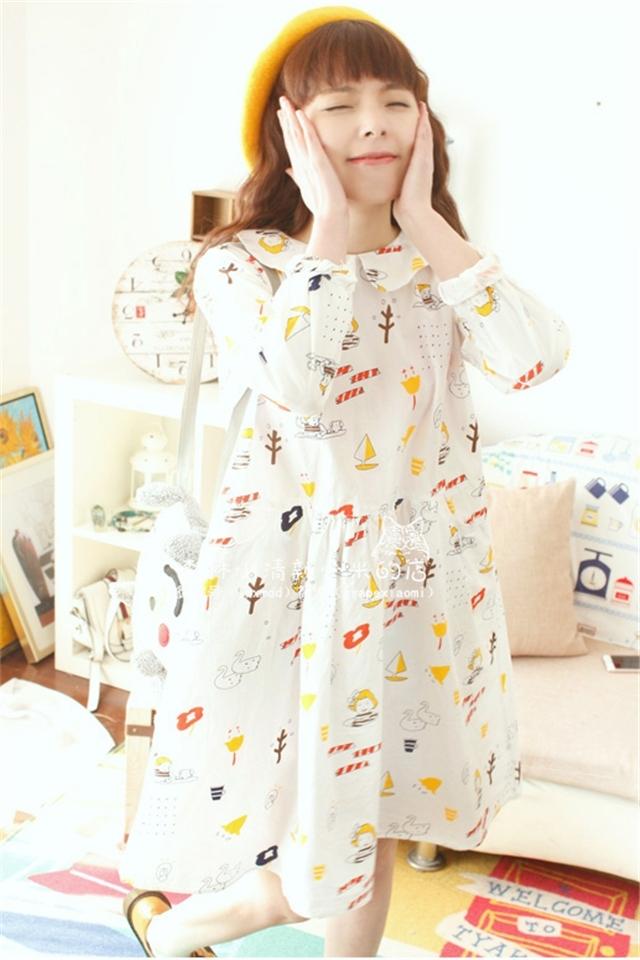 【森系童趣手绘漫画微笑小女孩娃娃领宽松棉质连衣裙