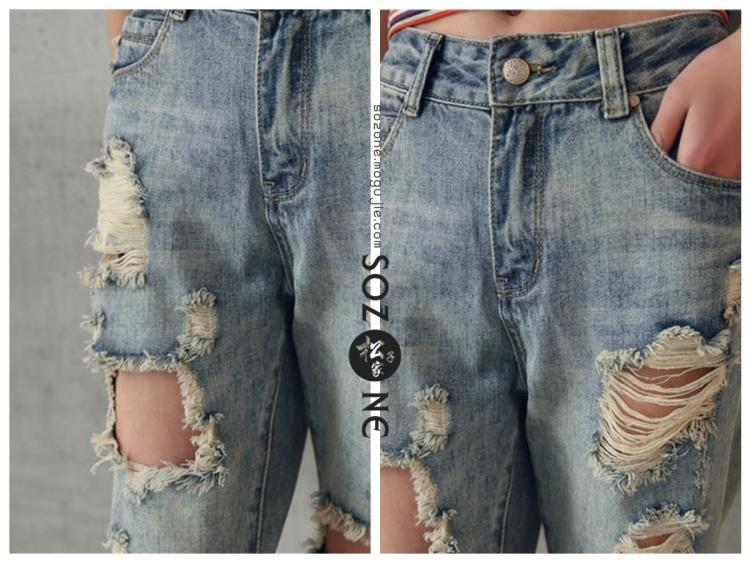 【破洞牛仔裤】-衣服-裤子